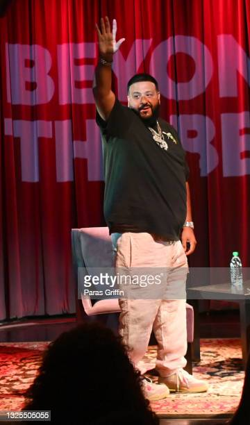 Khaled arrives onstage during AudioMack Presents Beyond The Beat With DJ Khaled at The GRAMMY Museum on June 25, 2021 in Los Angeles, California.