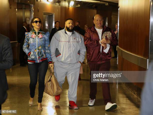 Khaled arrives to the arena during the NBA AllStar Game as a part of 2018 NBA AllStar Weekend at STAPLES Center on February 18 2018 in Los Angeles...