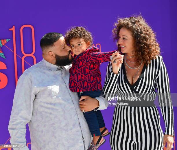 Khaled, Asahd Tuck Khaled and Nicole Tuck arrive to the 2018 BET Awards held at Microsoft Theater on June 24, 2018 in Los Angeles, California.