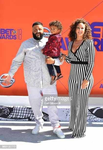 DJ Khaled Asahd Tuck Khaled and Nicole Tuck attend the 2018 BET Awards at Microsoft Theater on June 24 2018 in Los Angeles California