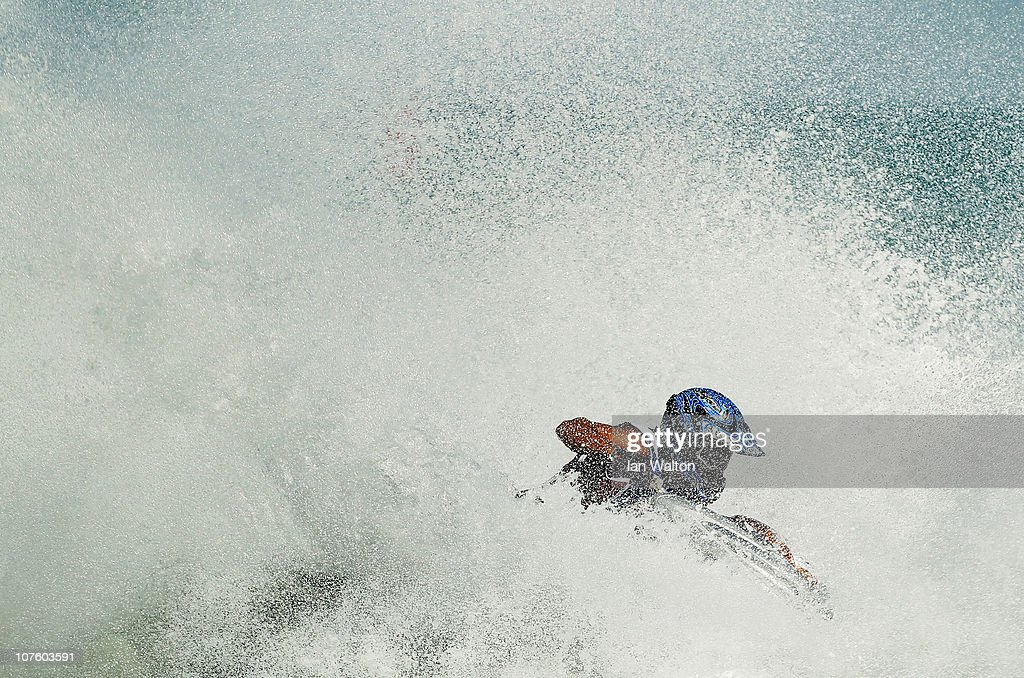 Khaled Burabee of Kuwait competes in the Jetski at Al-Musannah Sports City during day eight of the 2nd Asian Beach Games Muscat 2010 on December 15, 2010 in Muscat, Oman.