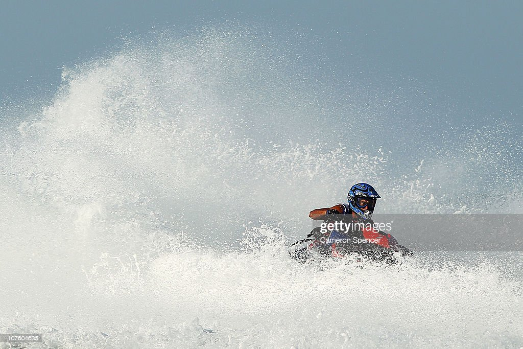 Khaled Burabee of Kuwait competes in the Jetski Final at Al-Musannah Sports City during day eight of the 2nd Asian Beach Games Muscat 2010 on December 15, 2010 in Muscat, Oman.