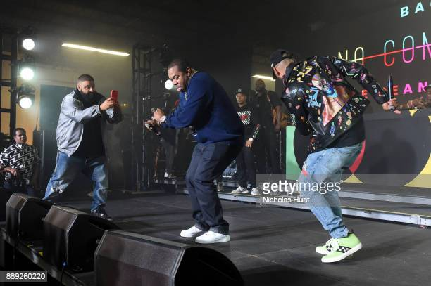 Khaled Busta Rhymes and Swizz Beatz perform onstage during BACARDI Swizz Beatz and The Dean Collection bring NO COMMISSION back to Miami to celebrate...