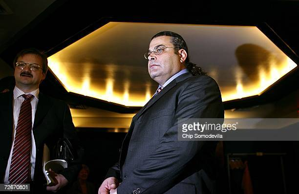 Khaled El-Masri and his German Lawyer Manfred Gnjidic prepare to hold a news conference at the National Press Club on November 29, 2006 in...