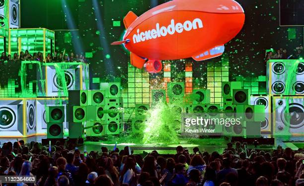 Khaled gets slimed onstage at Nickelodeon's 2019 Kids' Choice Awards at Galen Center on March 23, 2019 in Los Angeles, California.
