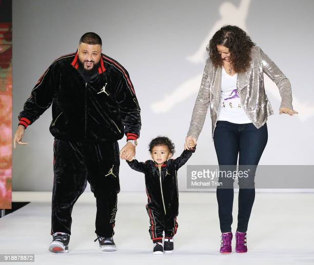 Khaled Mohamed Khaled aka DJ Khaled walks the runway with his son Asahd Tuck Khaled and Nicole Tuck during the 2018 Rookie USA Show held at Milk...