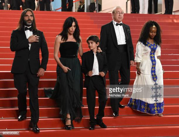 Khaled Mouzanar director Nadine Labaki Zain Alrafeea guest and Yordanos Shifera leave the screening of 'Capharnaum' during the 71st annual Cannes...