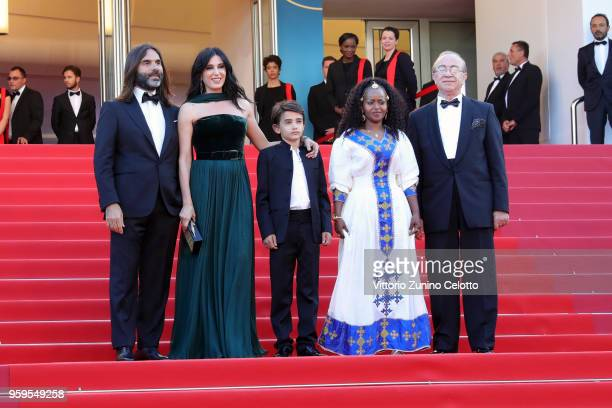 Khaled Mouzanar director Nadine Labaki Zain Alrafeea Yordanos Shifera and guest attend the screening of 'Capharnaum' during the 71st annual Cannes...