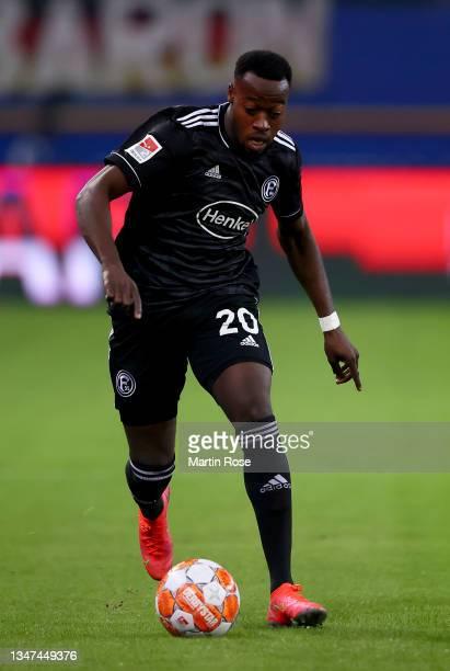 Khaled Narey of Fortuna Düsseldorf controls the ball during the Second Bundesliga match between Hamburger SV and Fortuna Düsseldorf at...
