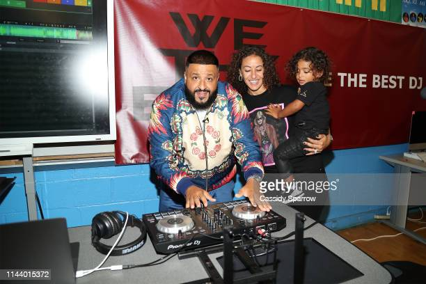 DJ Khaled Nicole Tuck and Asahd Khaled attend Save The Music DJ Khaled High School For Public Service Event at High School for Public Service on May...