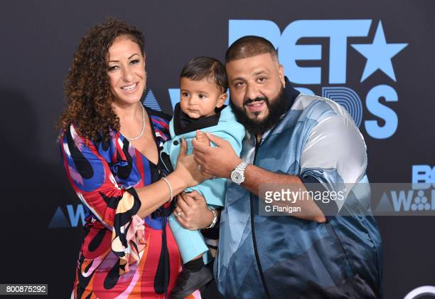 DJ Khaled Nicole Tuck and Asahd Tuck Khaled at the 2017 BET Awards at Microsoft Square on June 25 2017 in Los Angeles California