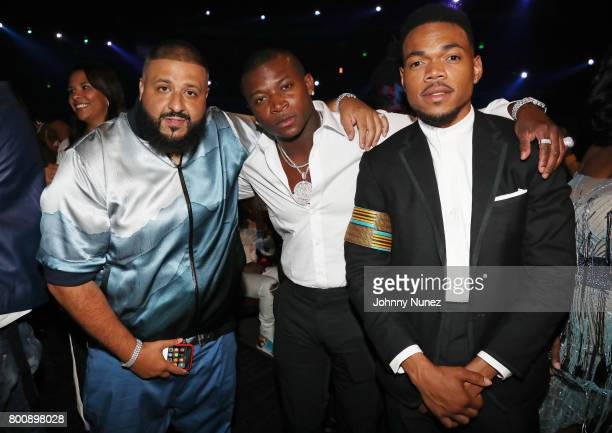 DJ Khaled OT Genasis and Chance The Rapper at 2017 BET Awards at Microsoft Theater on June 25 2017 in Los Angeles California