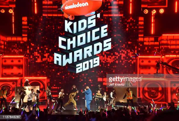 Khaled performs onstage at Nickelodeon's 2019 Kids' Choice Awards at Galen Center on March 23 2019 in Los Angeles California