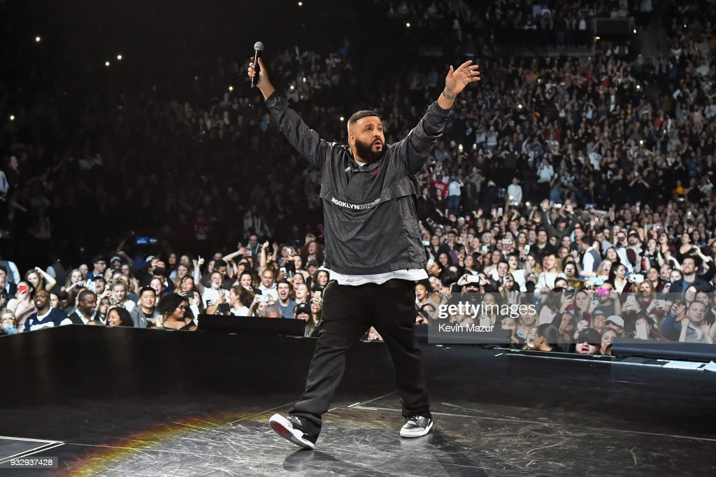 DJ Khaled performs onstage during the Demi Lovato 'Tell Me You Love Me' World Tour at Barclays Center of Brooklyn on March 16, 2018 in New York City.