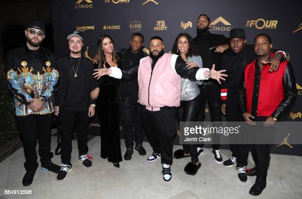 Khaled poses with his team at The Four cast Sean Diddy Combs Fergie and Meghan Trainor Host DJ Khaled's Birthday Presented by CÎROC and Fox on...