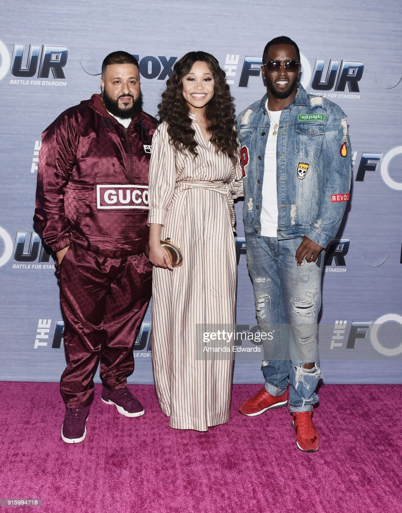 DJ Khaled, singer Evvie McKinney and rapper Sean 'Diddy' Combs arrive at FOX's 'The Four: Battle For Stardom' Season Finale Viewing Party at Delilah on February 8, 2018 in West Hollywood, California.