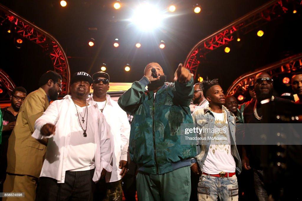 DJ Khaled speaks onstage at BET Hip Hop Awards 2017 on October 6, 2017 in Miami Beach, Florida.