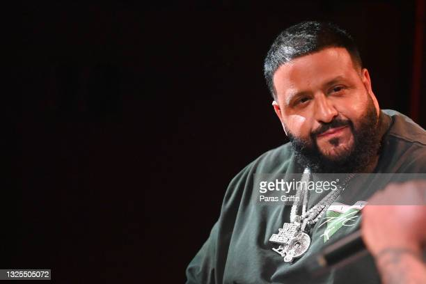 Khaled speaks onstage during AudioMack Presents Beyond The Beat With DJ Khaled at The GRAMMY Museum on June 25, 2021 in Los Angeles, California.