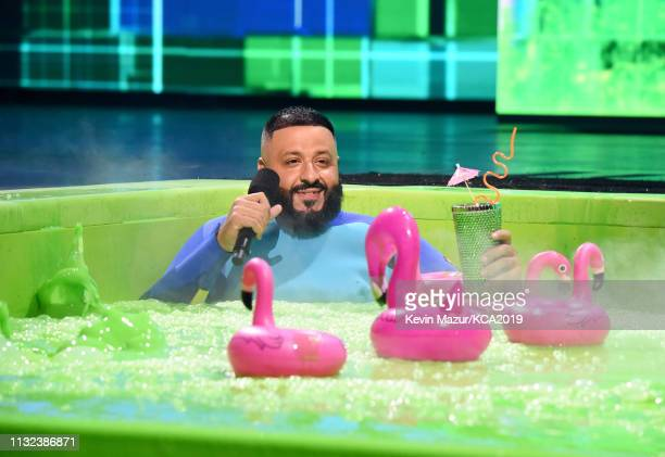 Khaled speaks onstage during Nickelodeon's 2019 Kids' Choice Awards at Galen Center on March 23 2019 in Los Angeles California