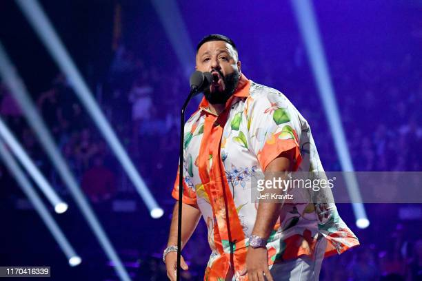 Khaled speaks onstage during the 2019 MTV Video Music Awards at Prudential Center on August 26, 2019 in Newark, New Jersey.