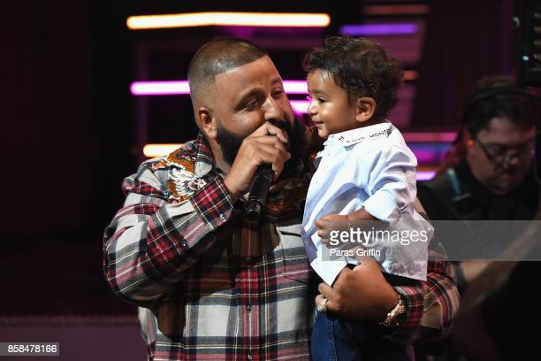 Khaled speaks onstage with son Asahd Khaled during the BET Hip Hop Awards 2017 at The Fillmore Miami Beach at the Jackie Gleason Theater on October 6...