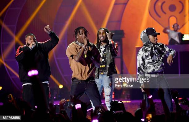 Khaled Travis Scott Quavo and Chance the Rapper perform onstage during the 2017 iHeartRadio Music Festival at TMobile Arena on September 23 2017 in...