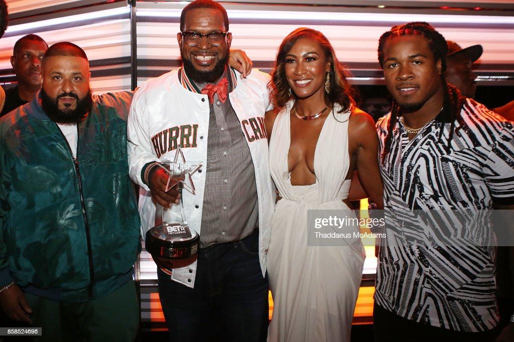 DJ Khaled, Uncle Luke, Kristin Thompson, and Devonta Freeman attend BET Hip Hop Awards 2017 on October 6, 2017 in Miami Beach, Florida.