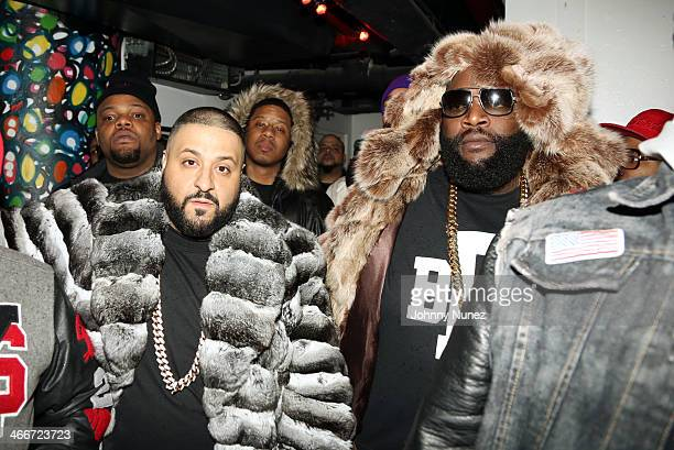 DJ Khaled Vado and Rick Ross attend Camron's KillaBowl at WIP on February 2 2014 in New York City