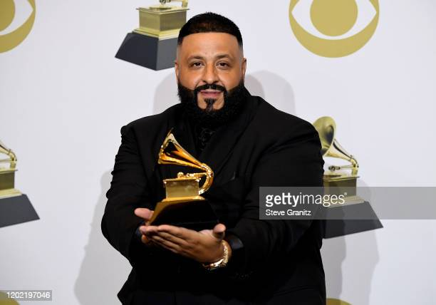 """Khaled winner of Best Rap/Sung Performance for """"Higher"""" poses in the press room during the 62nd Annual GRAMMY Awards at Staples Center on January 26,..."""