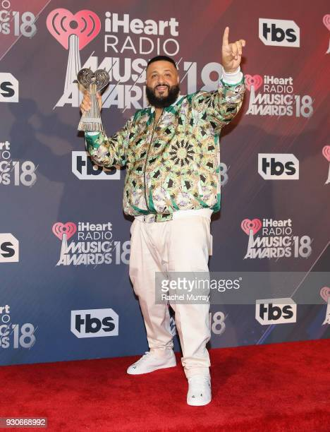 Khaled winner of Hip Hop song of the year poses in the press room during the 2018 iHeartRadio Music Awards which broadcasted live on TBS TNT and...