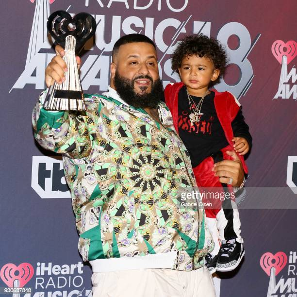 Khaled winner of HipHop Song of the Year for 'Wild Thoughts' and son Asahd Khaled pose in the press room at The Forum on March 11 2018 in Inglewood...
