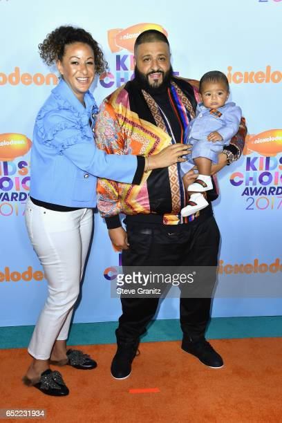 Khaled with Nicole Tuck and Asahd Tuck Khaled at Nickelodeon's 2017 Kids' Choice Awards at USC Galen Center on March 11 2017 in Los Angeles California