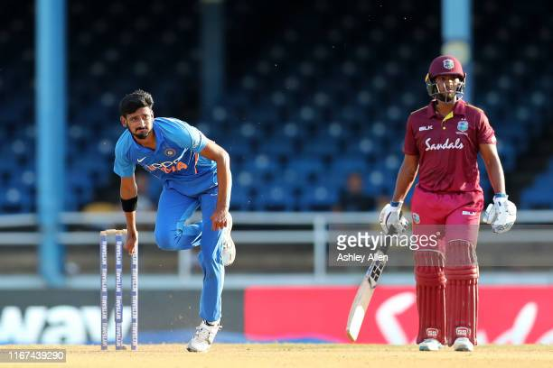 Khaleel Ahmed of India bowls as Nicholas Pooran of the West Indies looks on during the second MyTeam11 ODI between the West Indies and India at the...