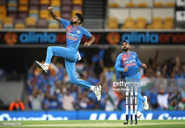 Khaleel Ahmed of India celebrates after taking the wicket of D'Arcy Short of Australia during game one of the the International Twenty20 series...
