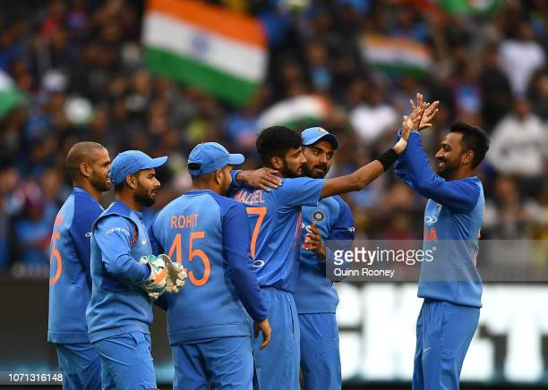 Khaleel Ahmed of India celebrates getting the wicket of Marcus Stoinis of Australia during the International Twenty20 match between Australia and...