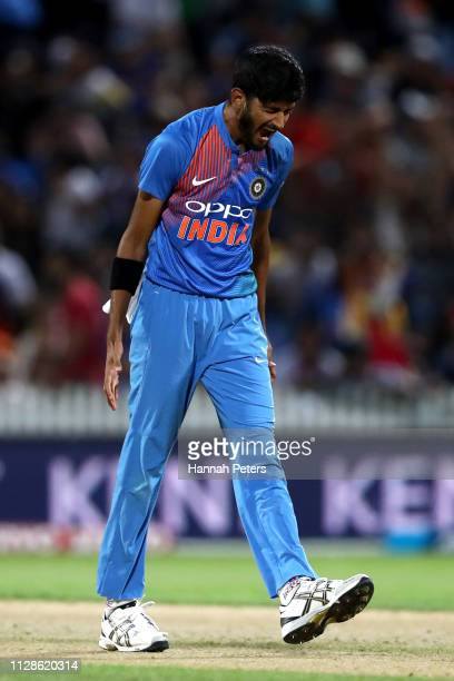 Khaleel Ahmed of India celebrates the wicket of Kane Williamson of the Black Caps during the International T20 Game 3 between India and New Zealand...
