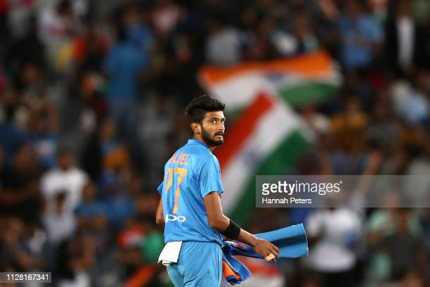 Khaleel Ahmed of India looks on during game two of the International T20 Series between the New Zealand Black Caps and India at Eden Park on February...