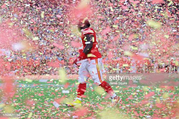 Khalen Saunders of the Kansas City Chiefs celebrates after defeating the San Francisco 49ers 31-20 in Super Bowl LIV at Hard Rock Stadium on February...