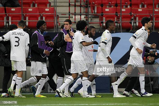 Khalfan Al Khalfan of AlSadd celebrates his goal against Esperance Sportive de Tunis with teammates during the FIFA Club World Cup Quarter Final...