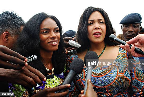Khaliah Ali , a daughter of boxing legend Muhammad Ali, speaks to the media as she toured on October 30, 2009 the Kinshasa stadium where her father...