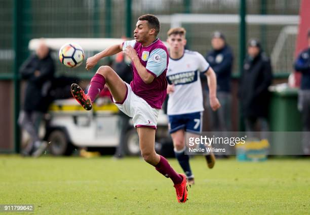 Khalid Abdo of Aston Villa during the Premier League 2 match between Aston Villa and Middlesbrough at Bodymoor Heath on January 29, 2018 in...