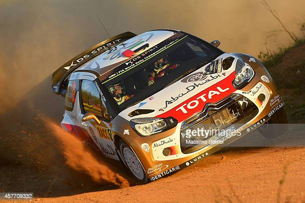 Khalid Al Qassimi of United Arab Emirates and Chris Patterson of Great Britain compete in their Citroen Total Abu Dhabi WRT Citroen DS3 WRC during...