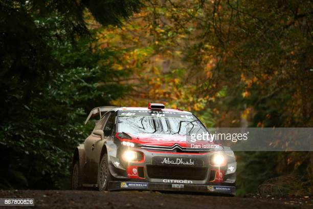 Khalid al Qassimi of United Arab Emirates and Citroen Total Abu Dhabi WRT drives with codriver Chris Patterson of Great Britain during day three of...