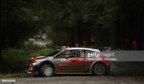 Khalid al Qassimi of United Arab Emirates and Citroen Total Abu Dhabi WRT drives with codriver Chris Patterson of Great Britain during day four of...
