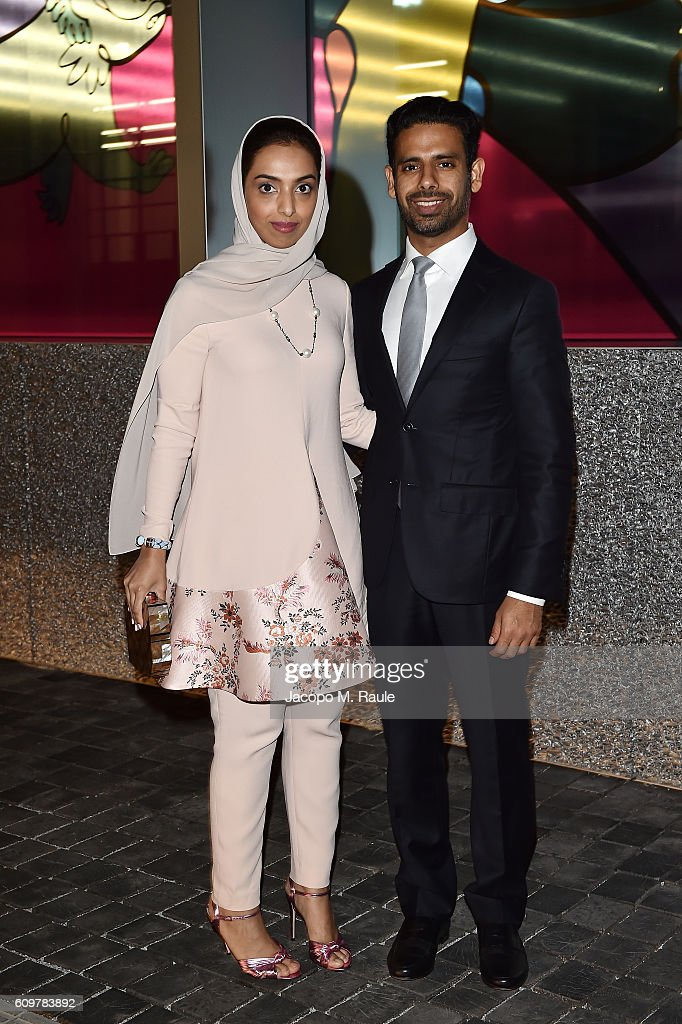 Khalid Al Tayer and Mariam Al Mehairy attend Miuccia Prada and Patrizio Bertelli private screening of a short movie by David O. Russell and dinner party at Fondazione Prada during Milan Fashion Week Spring/Summer 2017 on September 22, 2016 in Milan, Italy.