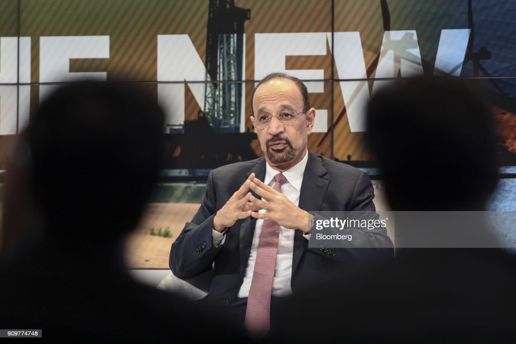 Khalid Al-Falih, Saudi Arabia's energy and industry minister, gestures while speaking during a panel session on day two of the World Economic Forum (WEF) in Davos, Switzerland, on Wednesday, Jan. 24, 2018. World leaders, influential executives, bankers and policy makers attend the 48th annual meeting of the World Economic Forum in Davos from Jan. 23 - 26. Photographer: Simon Dawson/Bloomberg via Getty Images