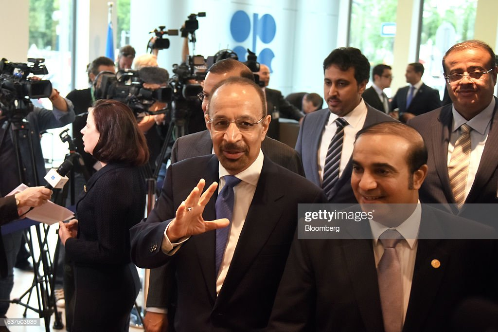 Khalid Al-Falih, Saudi Arabia's minister of energy and industry, center, arrives for the 169th Organization of Petroleum Exporting Countries (OPEC) conference in Vienna, Austria, on Thursday, June 2, 2016. Saudi Arabia is ready to consider a surprise deal with fellow OPEC members, attempting to mend divisions that had grown so wide many dubbed the group as good as dead. Photographer: Akos Stiller/Bloomberg via Getty Images