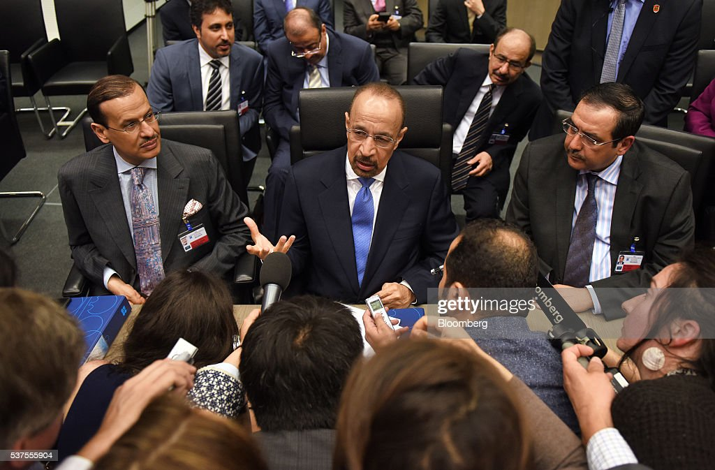 Khalid Al-Falih, Saudi Arabia's minister of energy and industry, center, speaks to journalists ahead of the 169th Organization of Petroleum Exporting Countries (OPEC) meeting in Vienna, Austria, on Thursday, June 2, 2016. Saudi Arabia is ready to consider a surprise deal with fellow OPEC members, attempting to mend divisions that had grown so wide many dubbed the group as good as dead. Photographer: Akos Stiller/Bloomberg via Getty Images