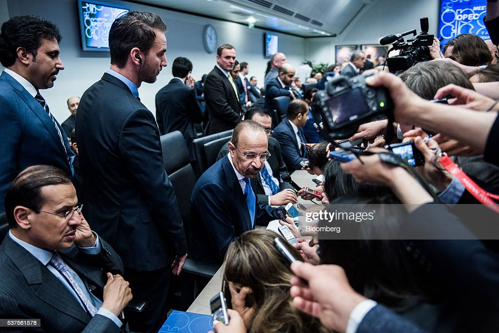 Khalid Al-Falih, Saudi Arabia's minister of energy and industry, center, sits surrounded by journalists ahead of the 169th Organization of Petroleum Exporting Countries (OPEC) conference in Vienna, Austria, on Thursday, June 2, 2016. Saudi Arabia is ready to consider a surprise deal with fellow OPEC members, attempting to mend divisions that had grown so wide many dubbed the group as good as dead. Photographer: Akos Stiller/Bloomberg via Getty Images