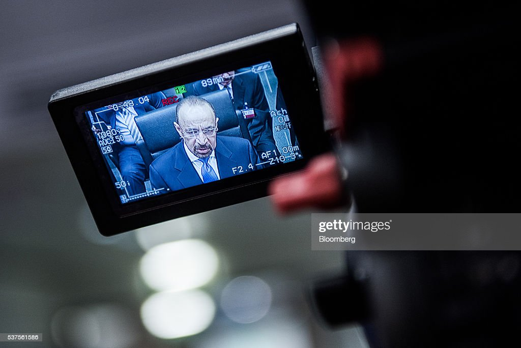 Khalid Al-Falih, Saudi Arabia's minister of energy and industry, sits displayed on a television camera viewfinder screen as he looks on ahead of the 169th Organization of Petroleum Exporting Countries (OPEC) meeting in Vienna, Austria, on Thursday, June 2, 2016. Saudi Arabia is ready to consider a surprise deal with fellow OPEC members, attempting to mend divisions that had grown so wide many dubbed the group as good as dead. Photographer: Akos Stiller/Bloomberg via Getty Images
